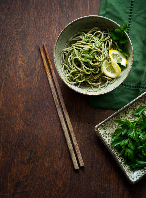 Parsley Pesto Recipe with Soba Noodles with chopsticks