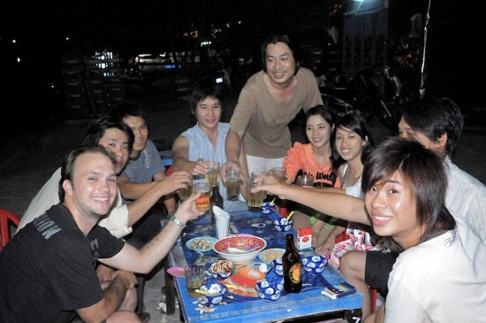 Todd with Cousins DaNang Vietnam Seafood Nhau