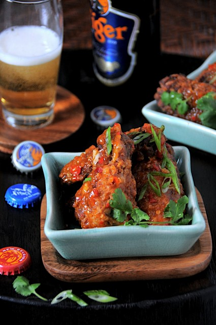 Asian Crispy Chicken Wings + sweet, spicy chili sauce – White on ...
