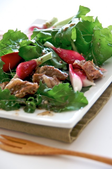 braised pork belly arugula radish salad recipes