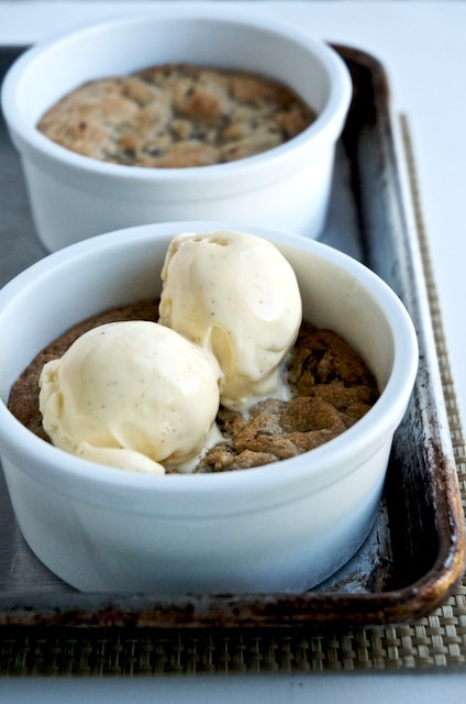"Deep Dish Chocolate Chunk Cookies a La Mode- ""Pizookie"" Style whiteonricecouple.com"