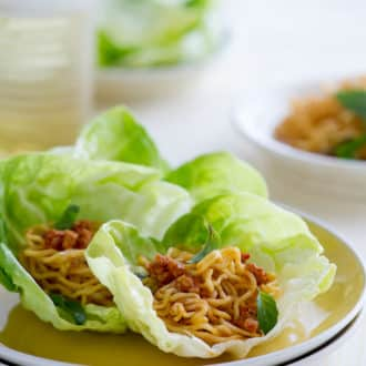 Spicy pork lettuce cups recipe or lettuce wraps recipe | @whiteonrice