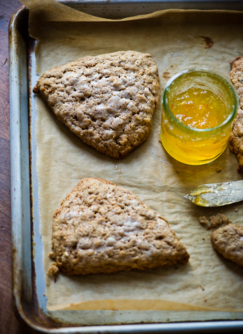 Brown Butter Oatmeal Scones with jam