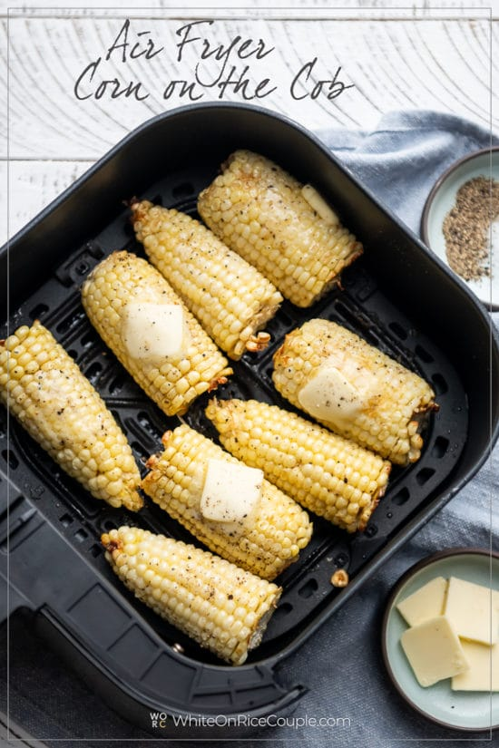 Air Fryer Corn on the Cob in a basket