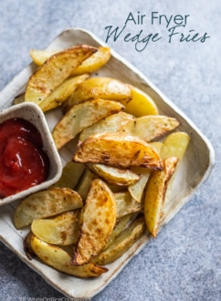 Plate of air fried French fries with side ketchup for dipping WhiteOnRicecouple.com