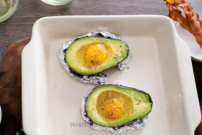 Baked Eggs in Avocado Recipe Paleo Keto @whiteonrice