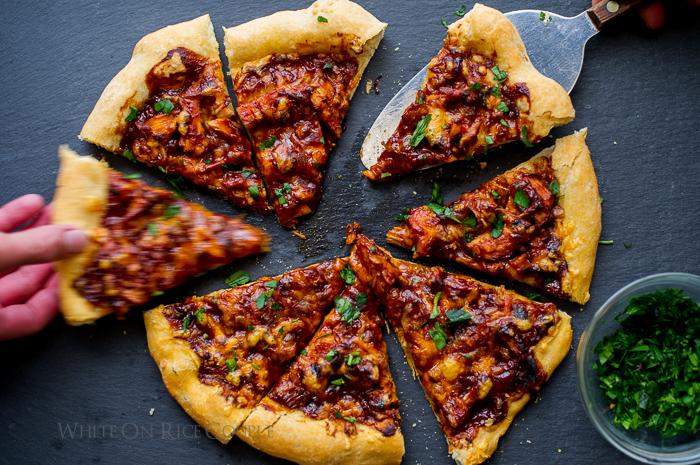 BBQ Turkey Pizza on a cutting board