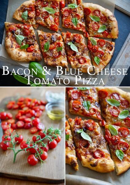 Tomato Bacon Pizza Recipe collage