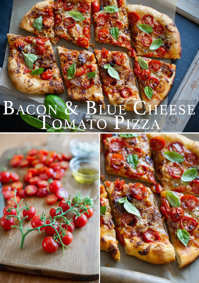 Bacon Blue Cheese and Tomato Pizza make a perfect everyday pizza | @whiteonrice