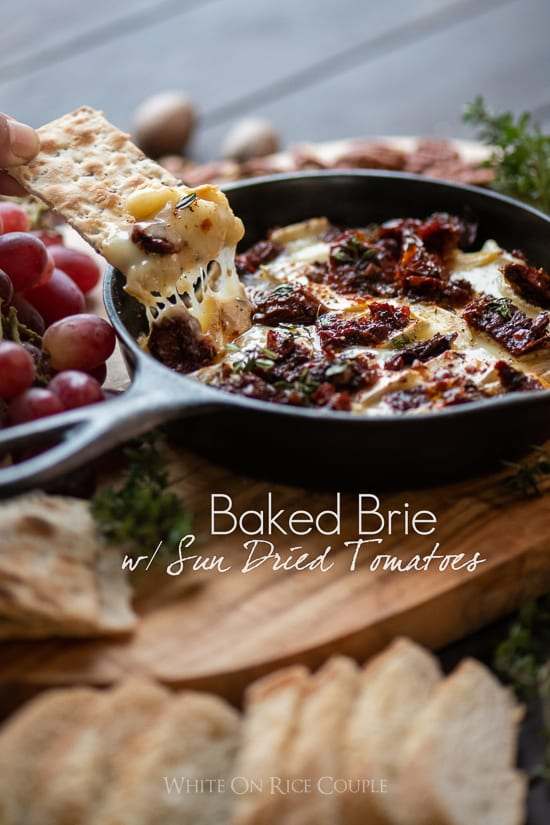 Baked Brie Dip Recipe with Garlic Sun Dried Tomato @whiteonrice