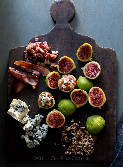 Baked Fig Recipe with Bacon and Blue Cheese is perfect for Summer on WhiteOnRiceCouple.com