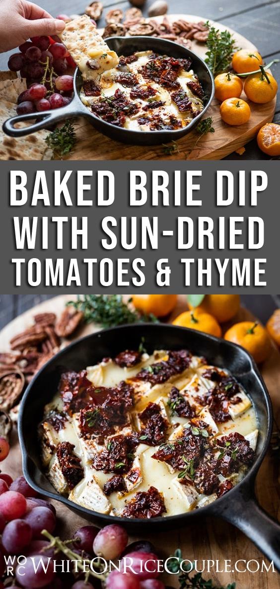 Baked Brie Dip Recipe with Garlic Sun Dried Tomato @whiteonrice