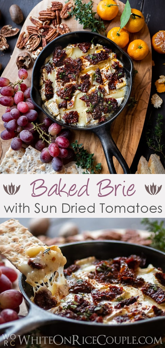 Receta de salsa de queso brie al horno con tomate secado al sol con ajo @whiteonrice