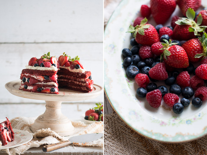Easy and Moist Red Velvet Cake Recipe that's Rustic & Layered with lots of Berries on WhiteOnRiceCouple.com