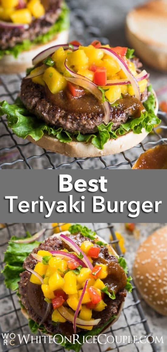 Teriyaki Burgers with Homemade Teriyaki Sauce Recipe and Mango Salsa Recipe   @whiteonrice