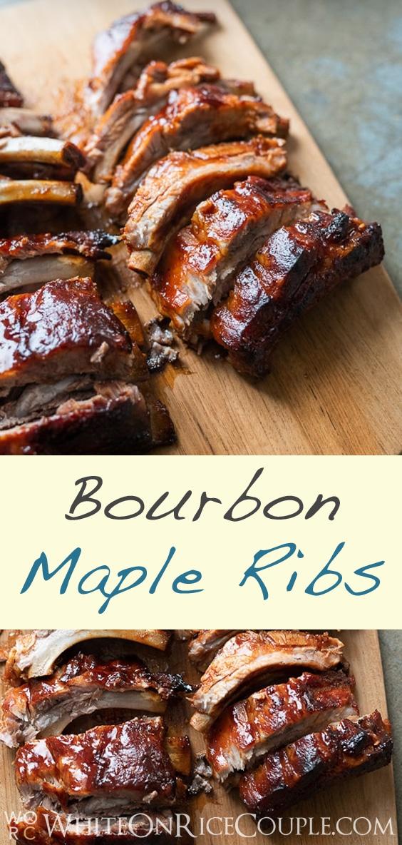 Oven Baked Bourbon Maple Spare Ribs Recipe @whiteonrice