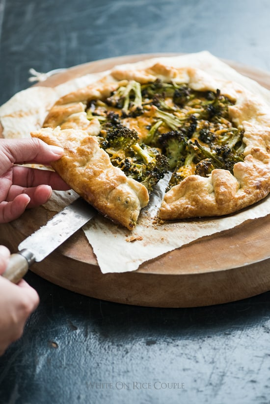 Broccoli Cheddar Galette Recipe or delicious Savory Cheddar Broccoli Pie @whiteonrice