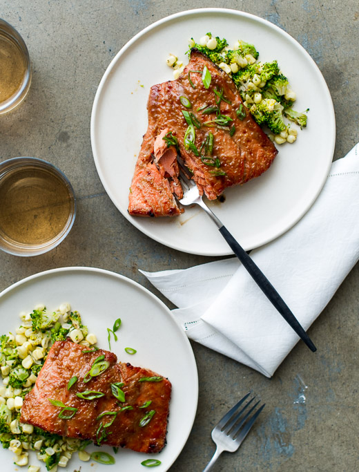 Broiled Miso-Glazed Salmon on a plate
