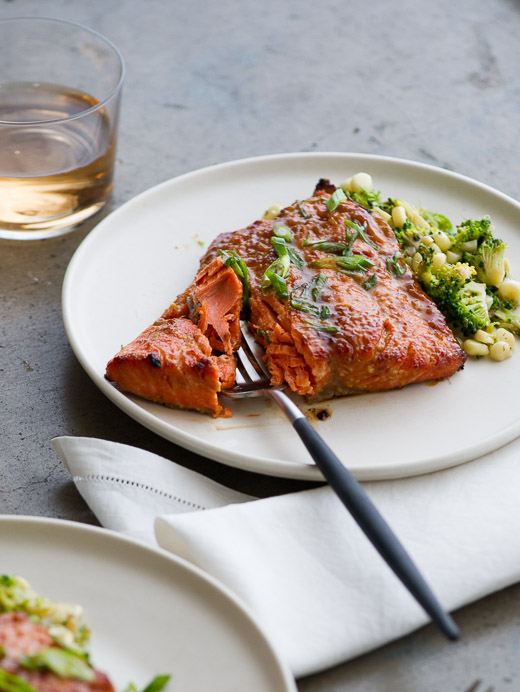 Broiled Miso-Glazed Salmon on a plate with a fork