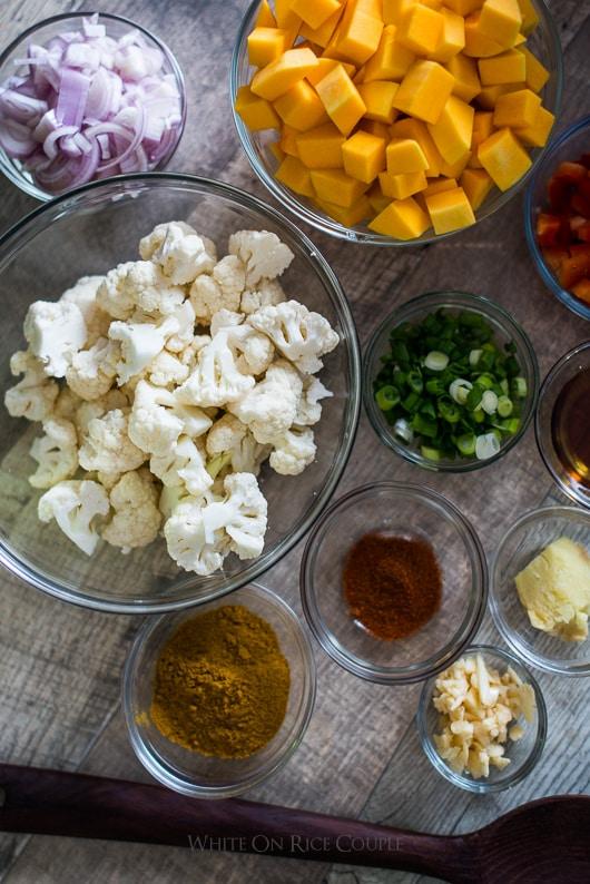 Butternut Squash and Cauliflower Curry   @whiteonrice