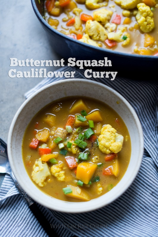 Butternut Squash and Cauliflower Curry | @whiteonrice