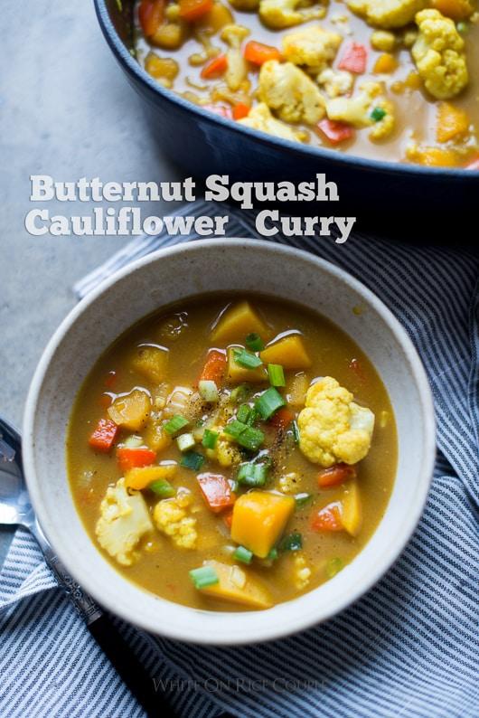 Butternut Squash and Cauliflower Curry in a bowl