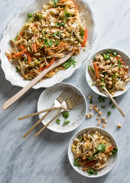 Amazing Cabbage Vegetable Pad Thai on a plate
