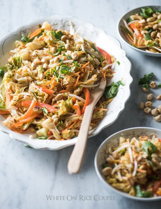 Amazing Cabbage Vegetable Pad Thai on a serving plate