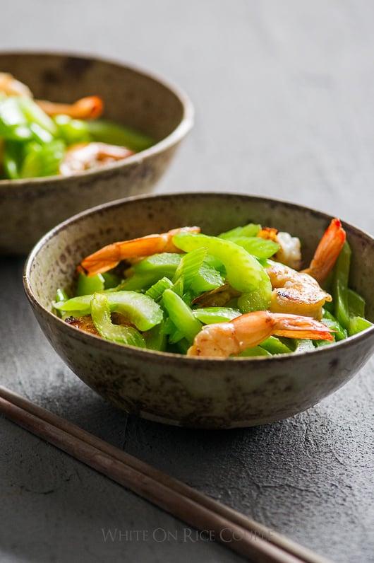 Healthy Asian Celery Shrimp Stir fry in a bowl