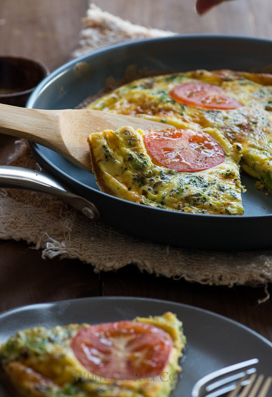 Healthy frittata cooked in ceramic pans in the oven on @whiteonrice
