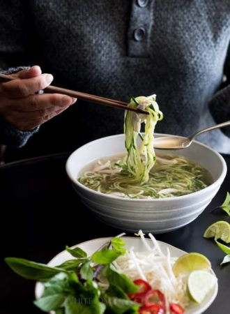 Chicken Pho Recipe with Zucchini Noodles Noodle Soup Recipe | WhiteOnRiceCouple.com