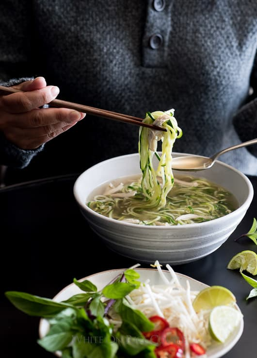 Chicken Pho Noodle Soup Recipe with Zucchini Noodles! Light, healthy and comforting. | @whiteonrice