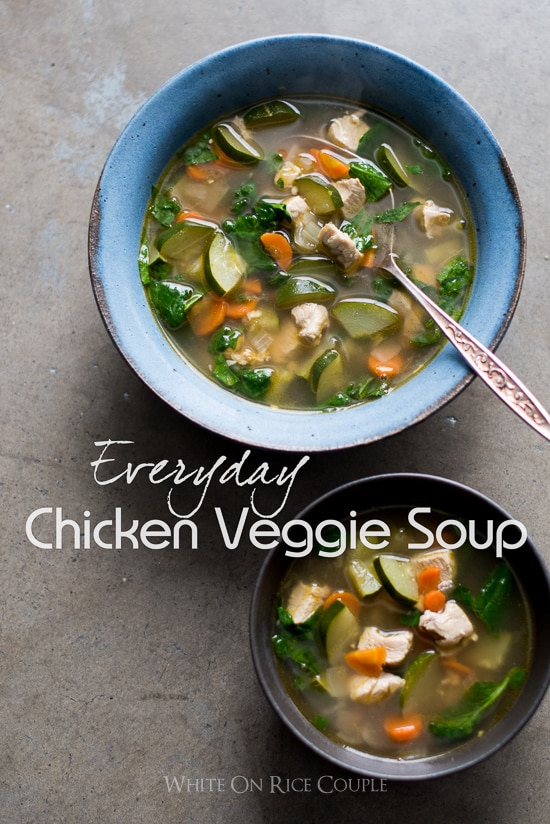 Easy Healthy Chicken Vegetable Soup Recipe @WhiteOnRice