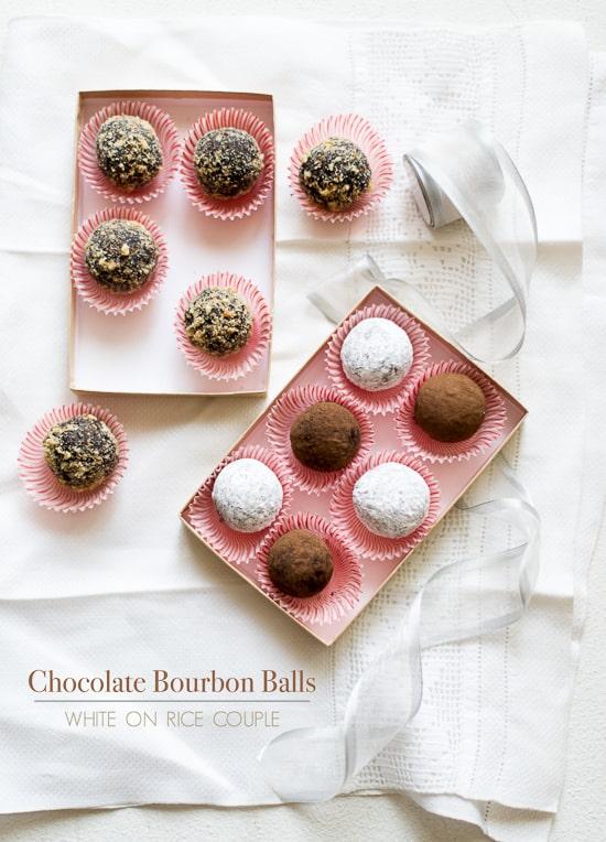 Chocolate Bourban Balls Recipe or Rum balls in boxes