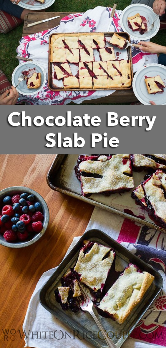 Triple Chocolate Slab Pie Recipe for your best friends! | @whiteonrice