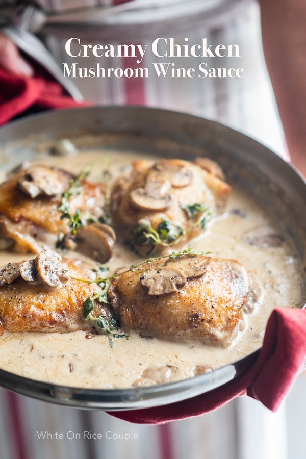 Skillet chicken recipe in creamy garlic mushroom wine sauce | WhiteOnRiceCouple.com