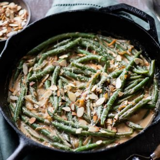 Creamy Green Beans Recipe with Parmesan Cheese for Thanksgiving Green Beans   @whiteonrice