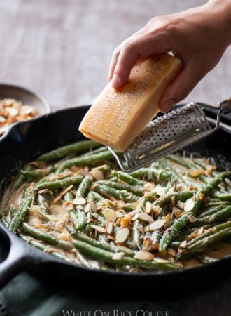 Creamy Green Beans Recipe with Parmesan Cheese for Thanksgiving Green Beans | @whiteonrice