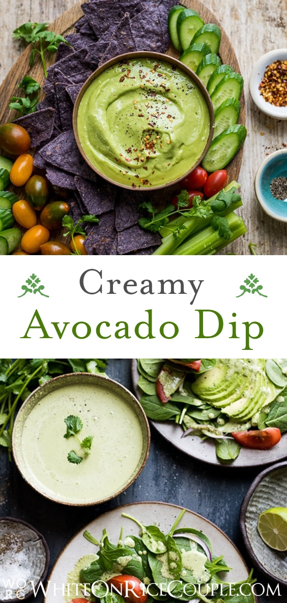 Avocado Dip Recipe or Creamy Avocado Dressing Recipe : Great as both! |@whiteonrice