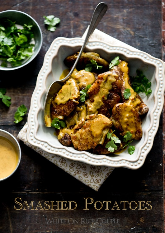 Smashed Potatoes with Thai Curry Sauce Recipe @whiteonrice