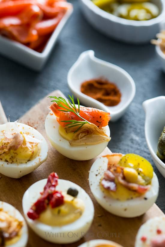 Deviled Eggs Recipe for Deviled Egg Bar Party! | @whiteonrice