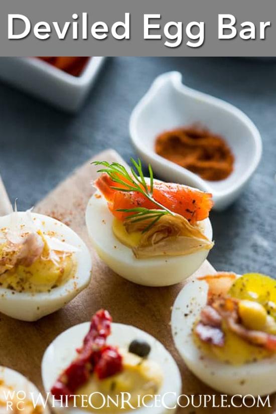 Deviled Eggs Recipe for Deviled Egg Bar Party! | @whiteonrice
