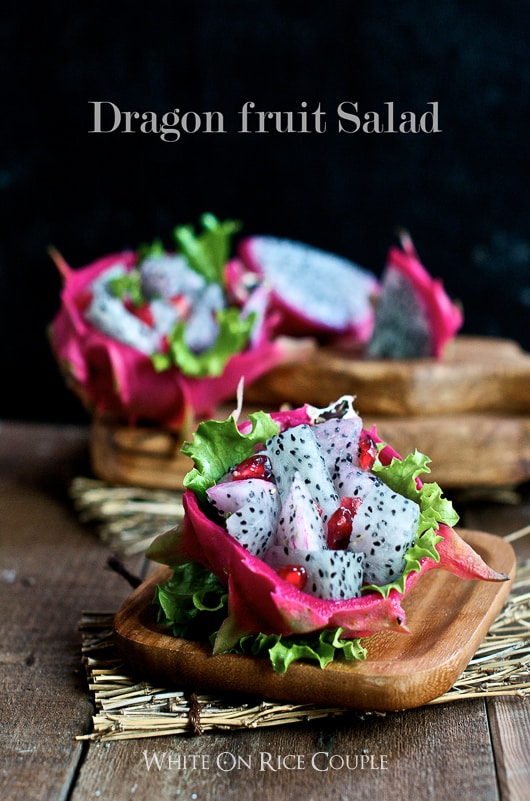 Healthy Fresh Dragon Fruit salad recipe @whiteonrice