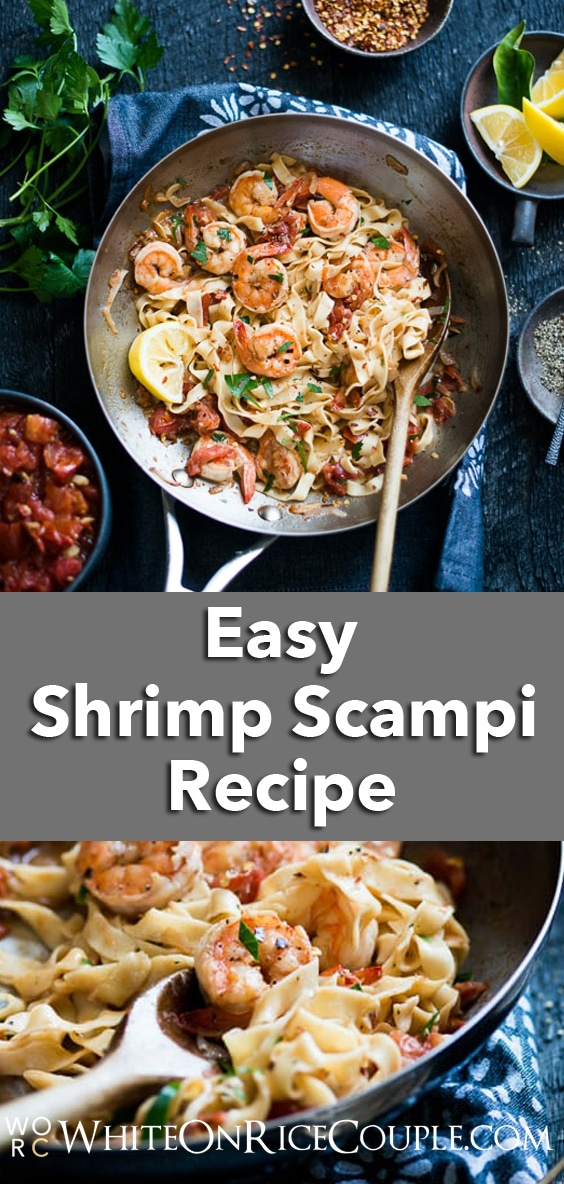 Homemade Pasta with Shrimp Scampi Recipe | @whiteonrice