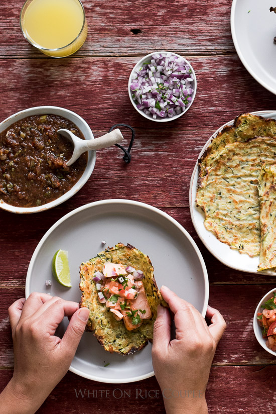 Healthy, Low Carb Fish Tacos with Zucchini Tortillas Recipe from @whiteonrice
