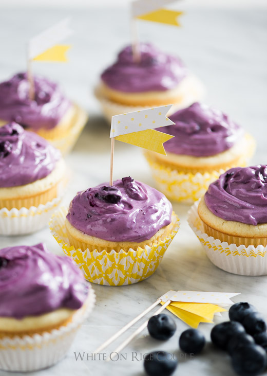 Fresh Blueberry Cream Cheese Frosting on cupcakes