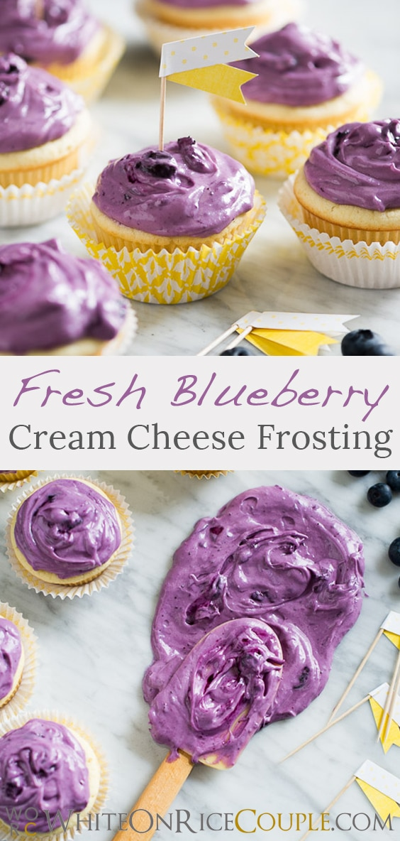 Fresh Blueberry cream cheese frosting recipe @whiteonrice