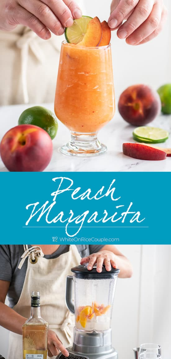 Frozen Peach Margaritas or Blended Peach Cocktails step by step photos