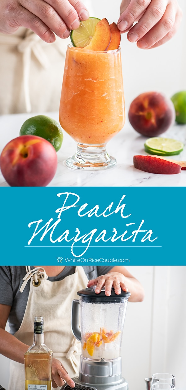 Frozen Peach Margaritas or Blended Peach Cocktails Recipe   WhiteOnRiceCouple.com