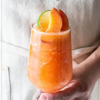 Frozen Peach Margaritas Recipe or Blended Peach Cocktails Recipe | WhiteOnRiceCouple.com